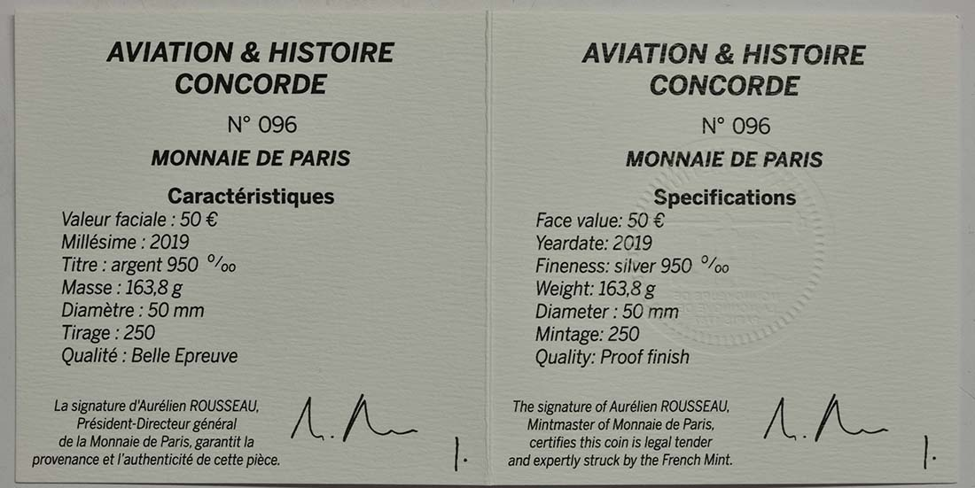 Zertifikat:Frankreich : 50 Euro Concorde  2019 PP