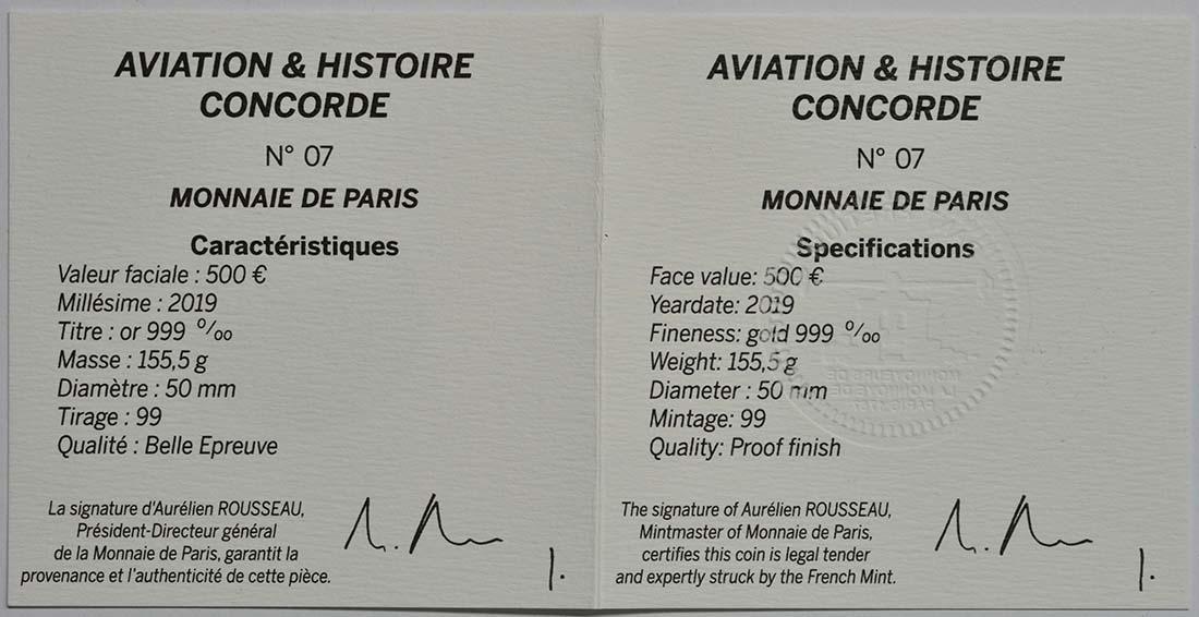 Zertifikat:Frankreich : 500 Euro Concorde  2019 PP