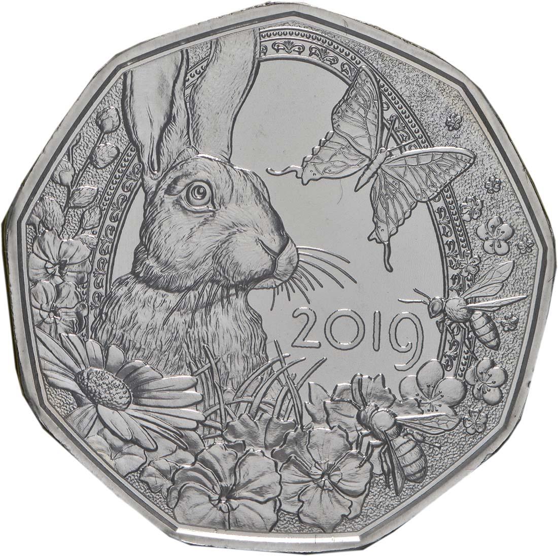 Vorderseite:Österreich : 5 Euro Frühlingserwachen  2019 Stgl.