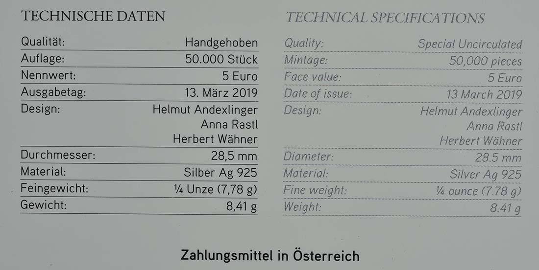 Zertifikat:Österreich : 5 Euro Frühlingserwachen  2019 Stgl.