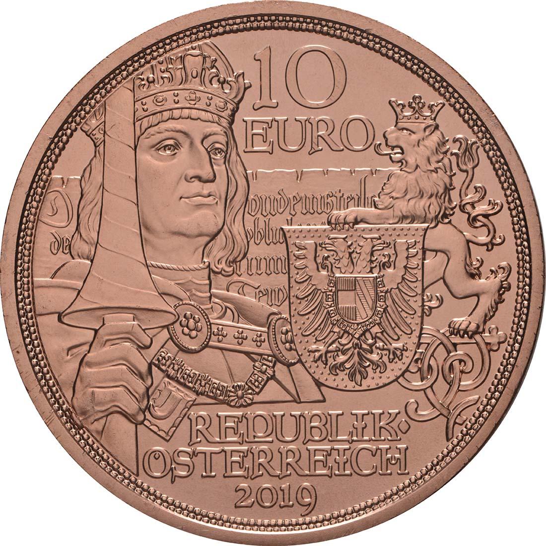 Rückseite:Österreich : 10 Euro Ritterlichkeit  2019 bfr