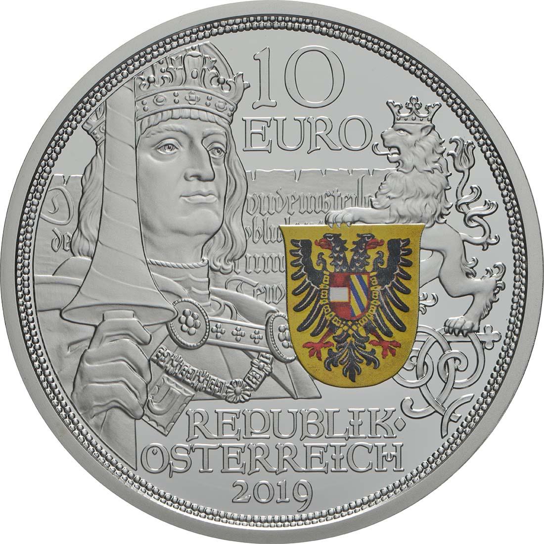 Rückseite:Österreich : 10 Euro Ritterlichkeit - farbig  2019 PP