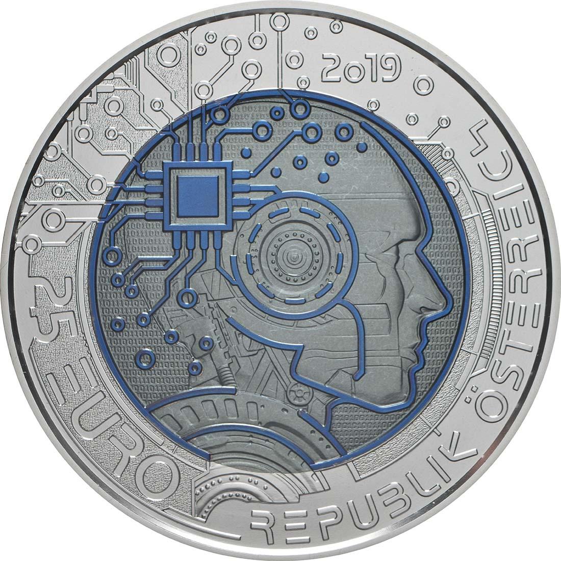 Rückseite:Österreich : 25 Euro Künstliche Intelligenz  2019 Stgl.