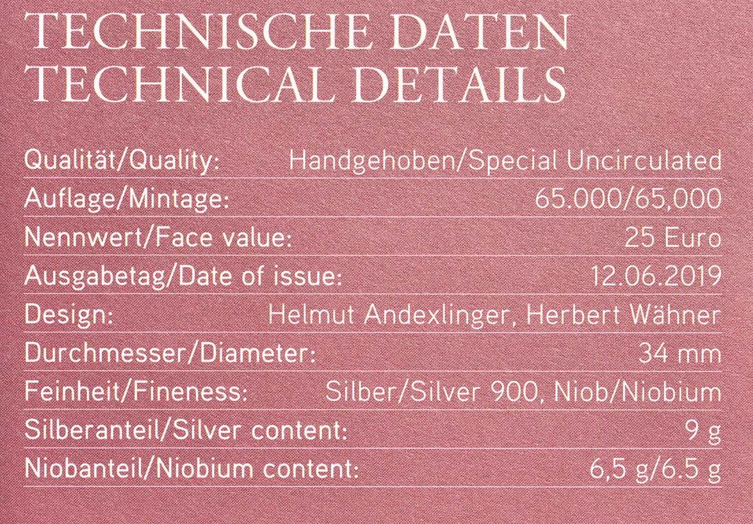 Zertifikat:Österreich : 25 Euro Künstliche Intelligenz  2019 Stgl.