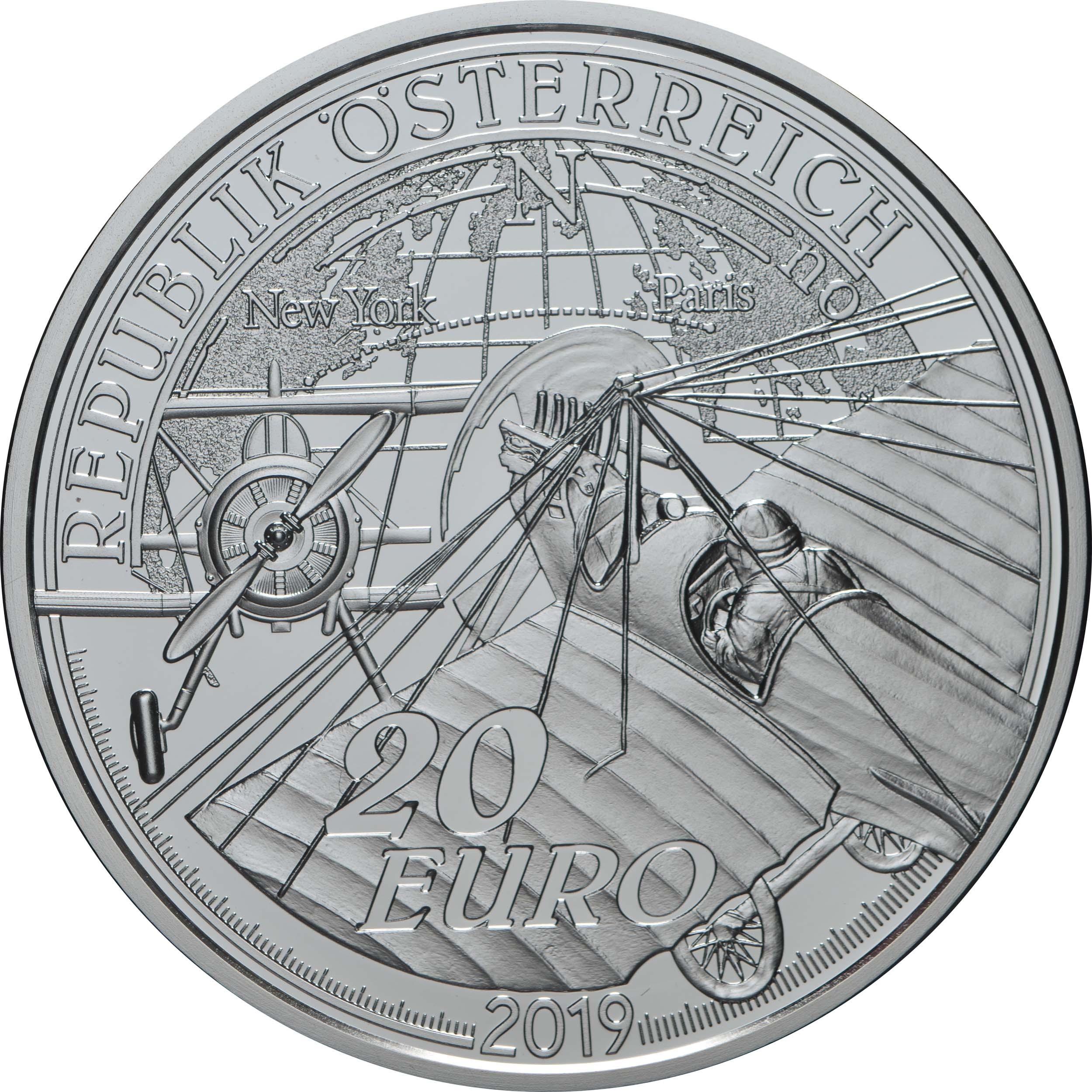 Rückseite:Österreich : 20 Euro Die Ära des Motorflugs  2019 PP