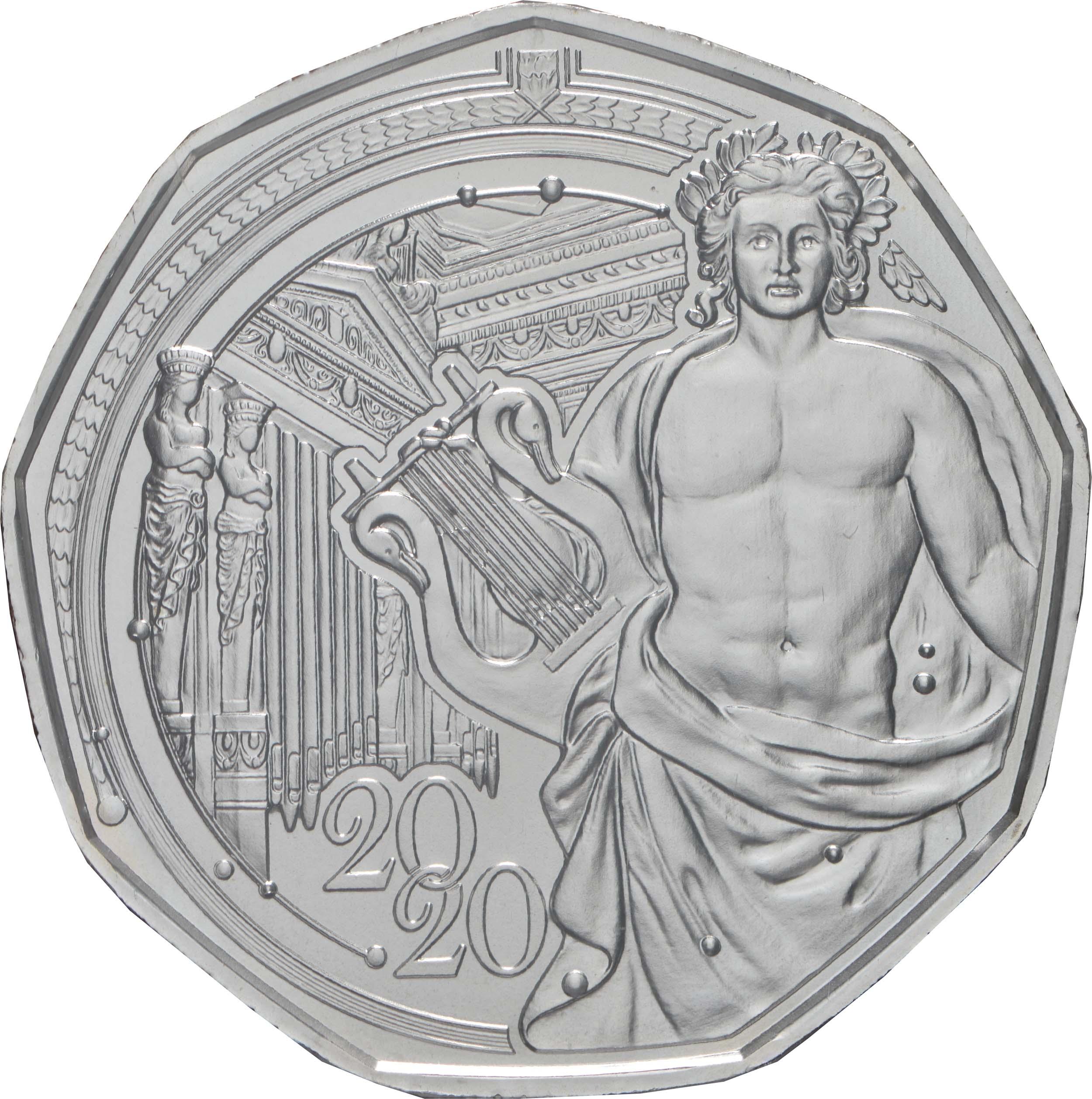 Vorderseite:Österreich : 5 Euro Neujahrsmünze - 150 Jahre Musikverein  2020 Stgl.