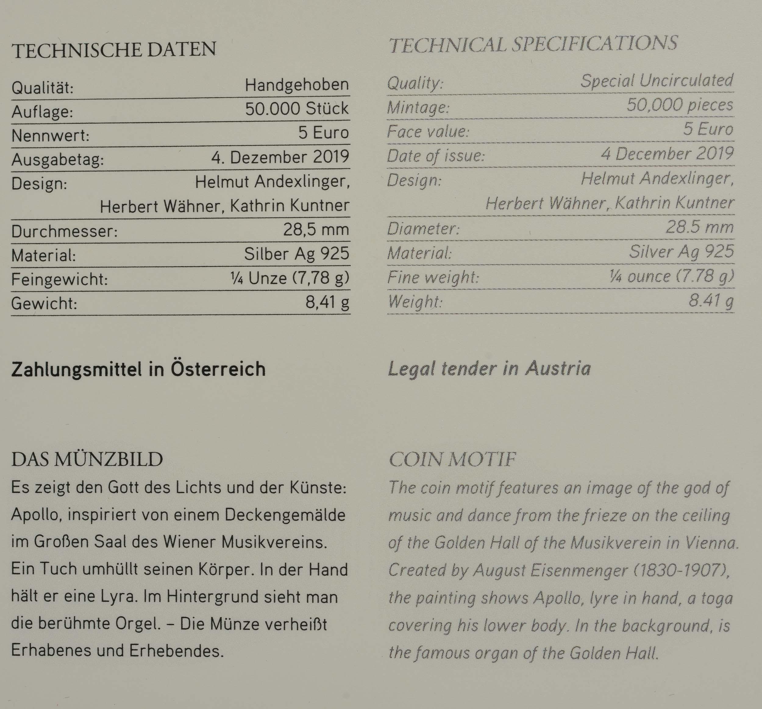 Zertifikat:Österreich : 5 Euro Neujahrsmünze - 150 Jahre Musikverein  2020 Stgl.