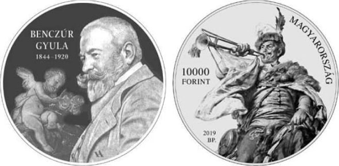 Lieferumfang:Ungarn : 10000 Forint 175. Geburtstag Gyula Benczur (Maler)  2019 PP