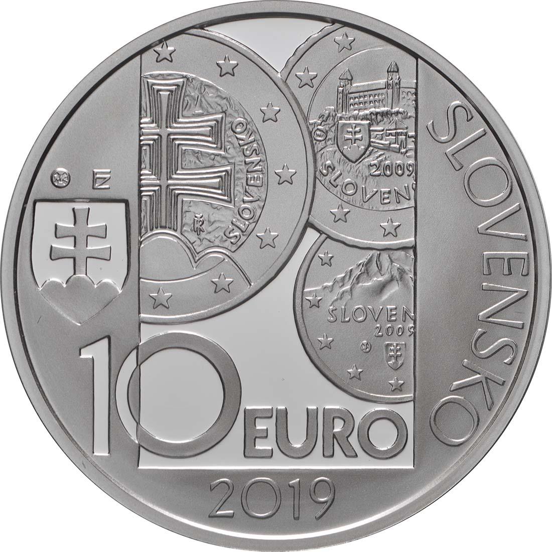 Rückseite:Slowakei : 10 Euro 10 Jahre Euro in der Slowakei  2019 PP