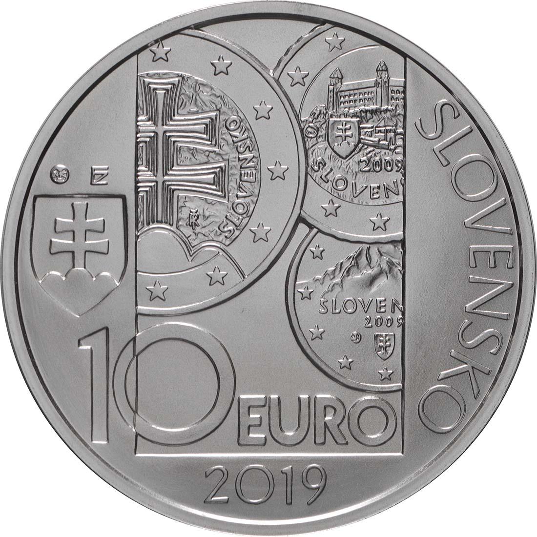 Rückseite:Slowakei : 10 Euro 10 Jahre Euro in der Slowakei  2019 Stgl.