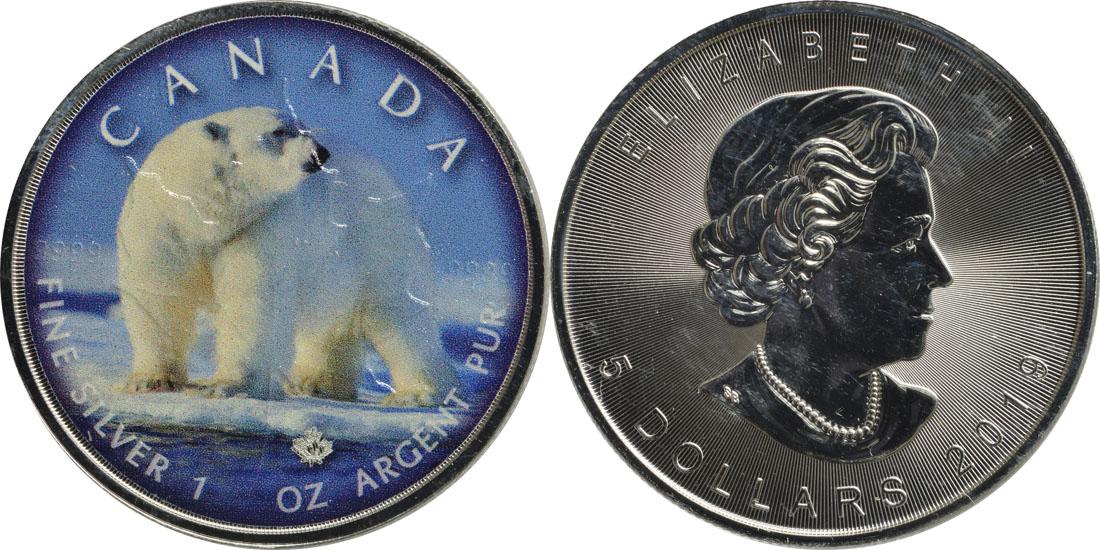 """Lieferumfang:Kanada : 5 Dollar Maple Leaf - Trails of Wildlife """"Eisbär""""  2019 Stgl."""