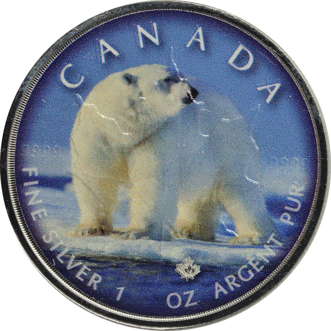 "Vorderseite:Kanada : 5 Dollar Maple Leaf - Trails of Wildlife ""Eisbär""  2019 Stgl."