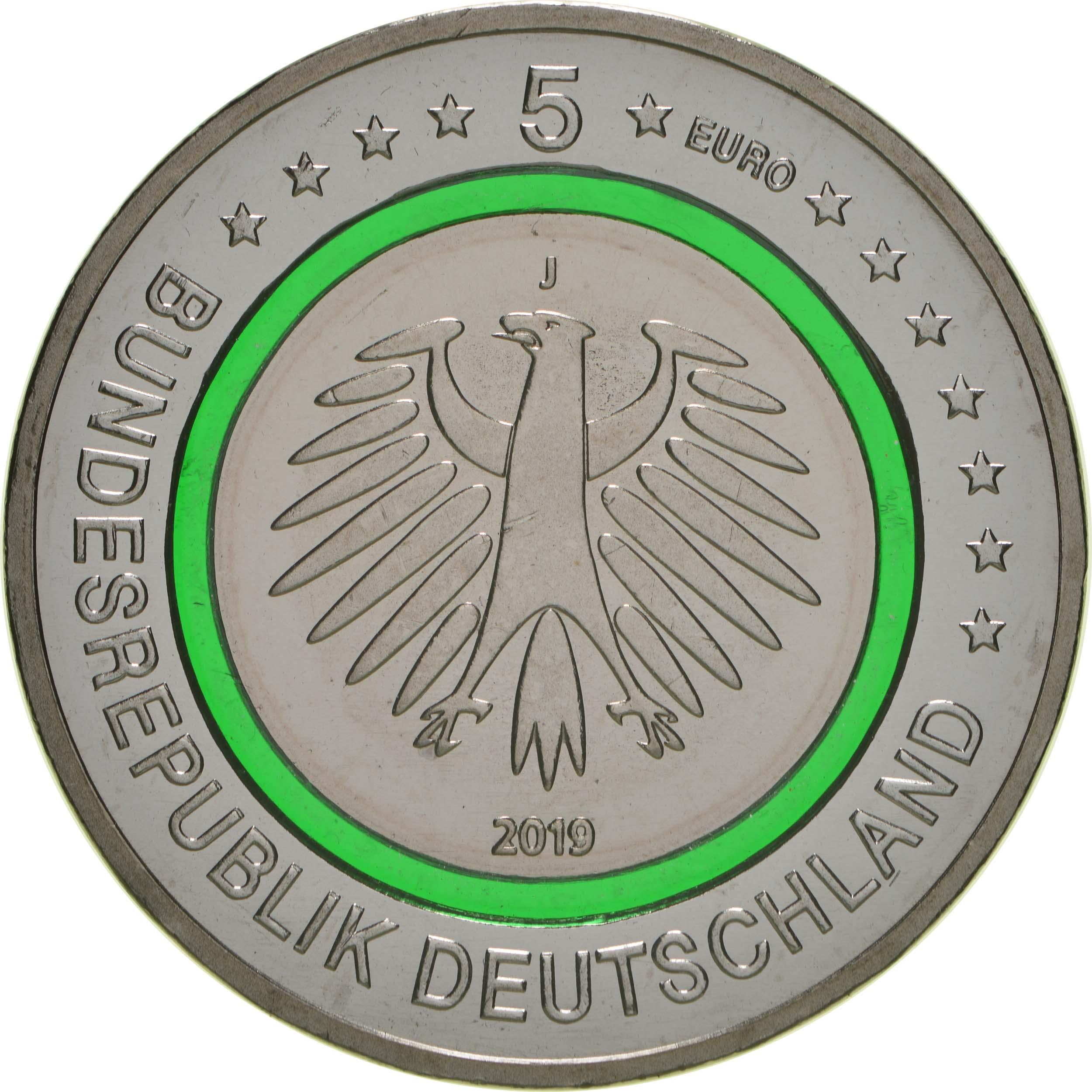 Rückseite:Deutschland : 5 Euro Gemäßigte Zone - grün - Buchstabe unserer Wahl  2019 bfr