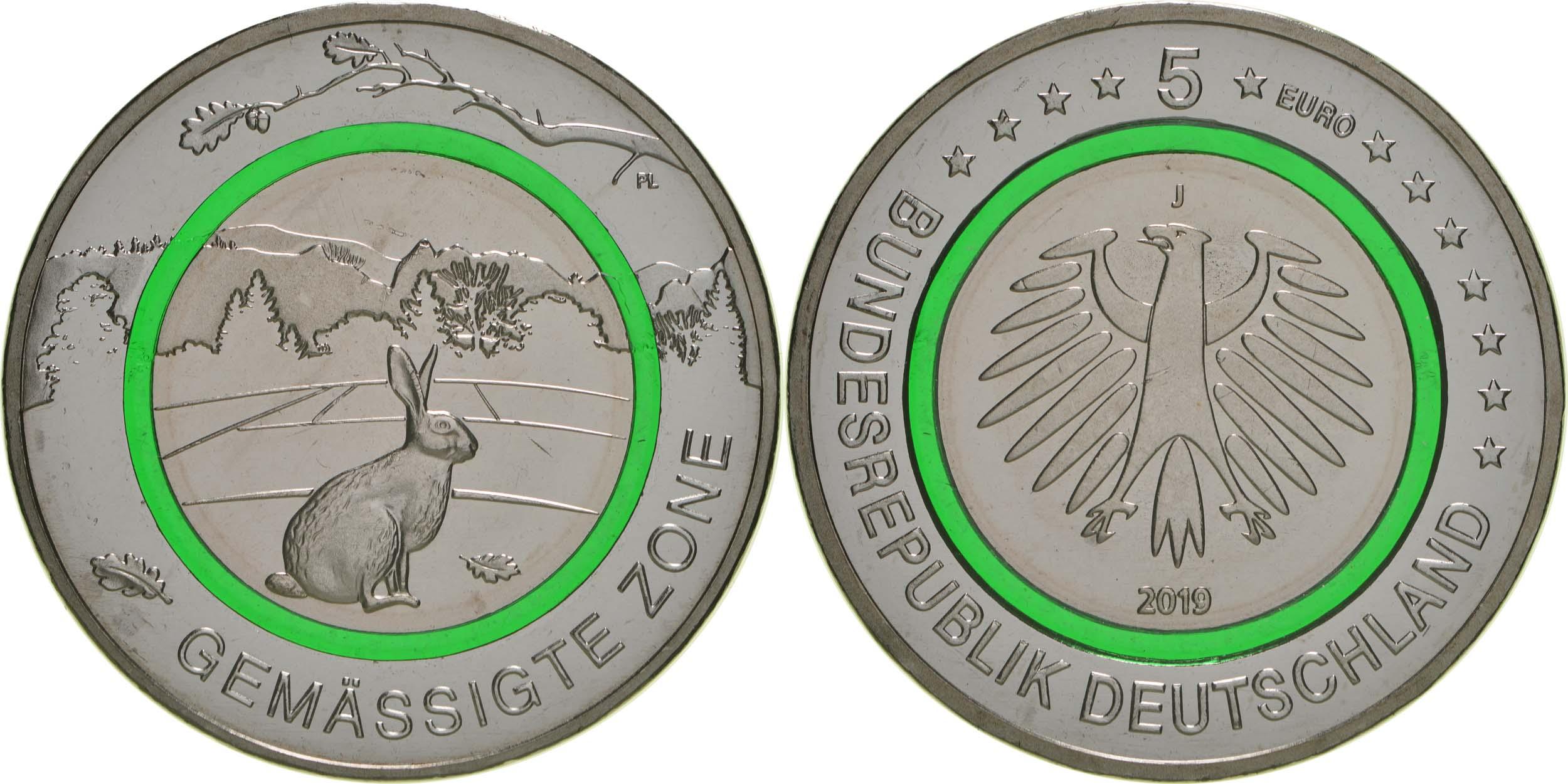 Lieferumfang:Deutschland : 5 Euro Gemäßigte Zone - grün - Buchstabe unserer Wahl  2019 bfr