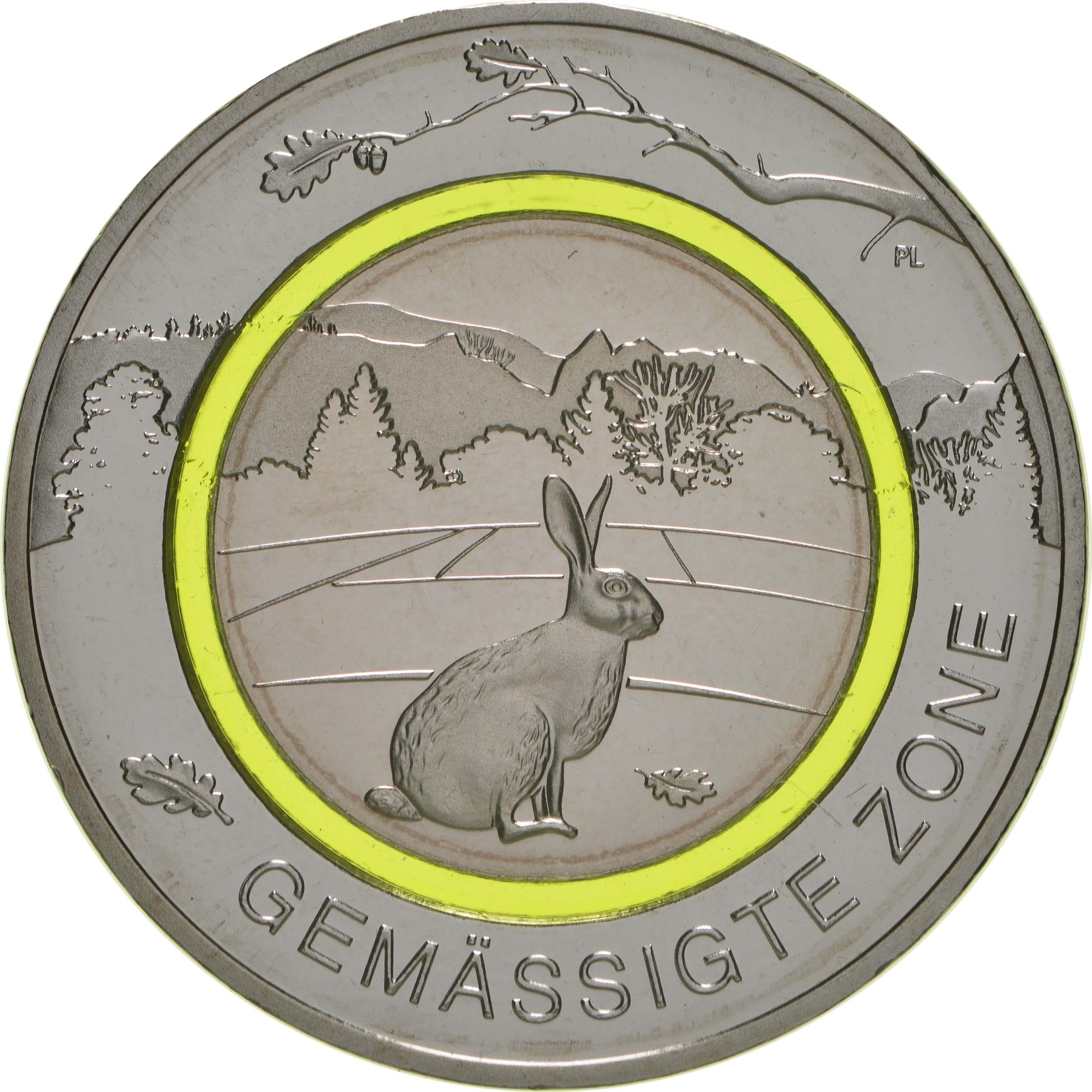 Vorderseite:Deutschland : 5 Euro Gemäßigte Zone - grün  2019 bfr