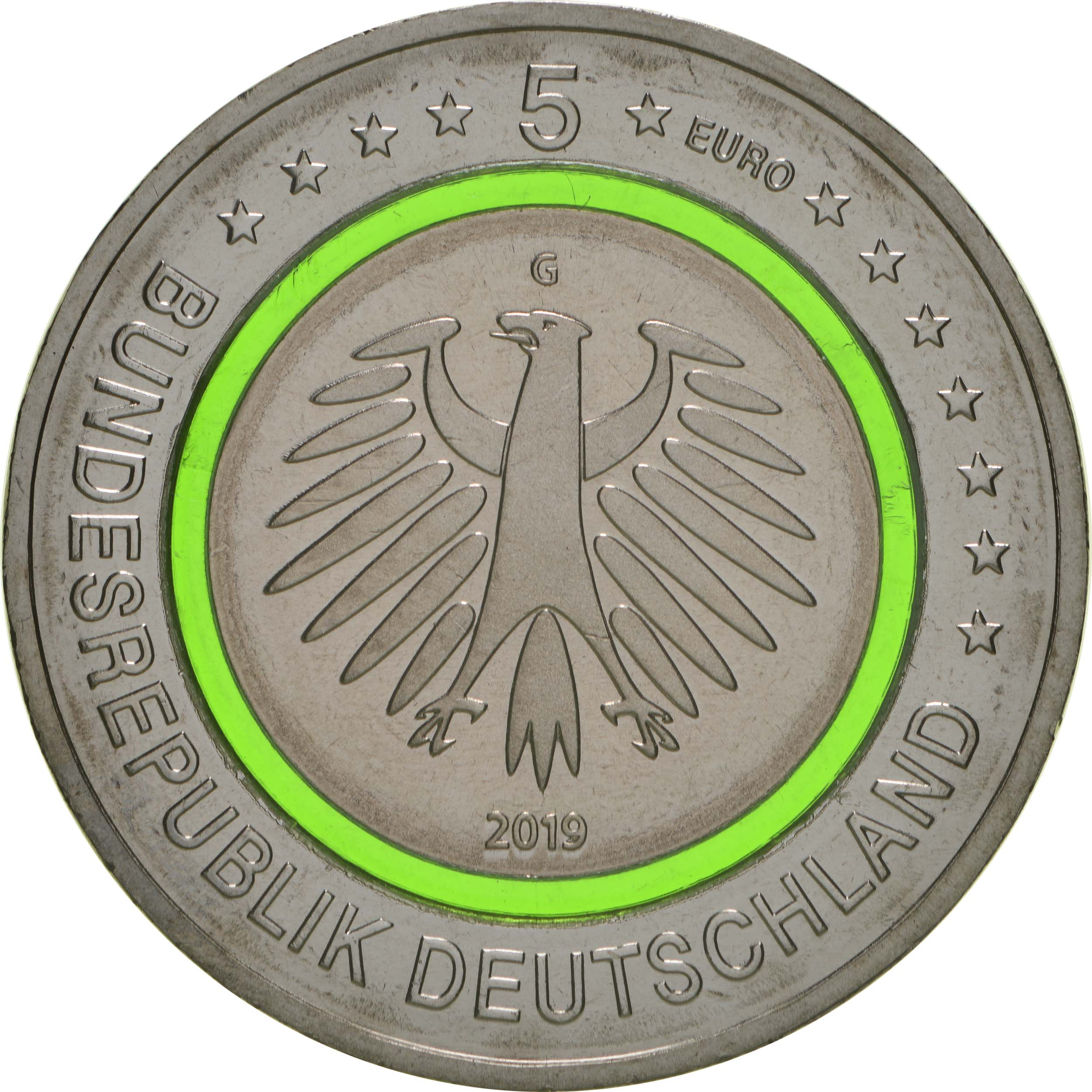 Rückseite:Deutschland : 5 Euro Gemäßigte Zone - grün  2019 bfr
