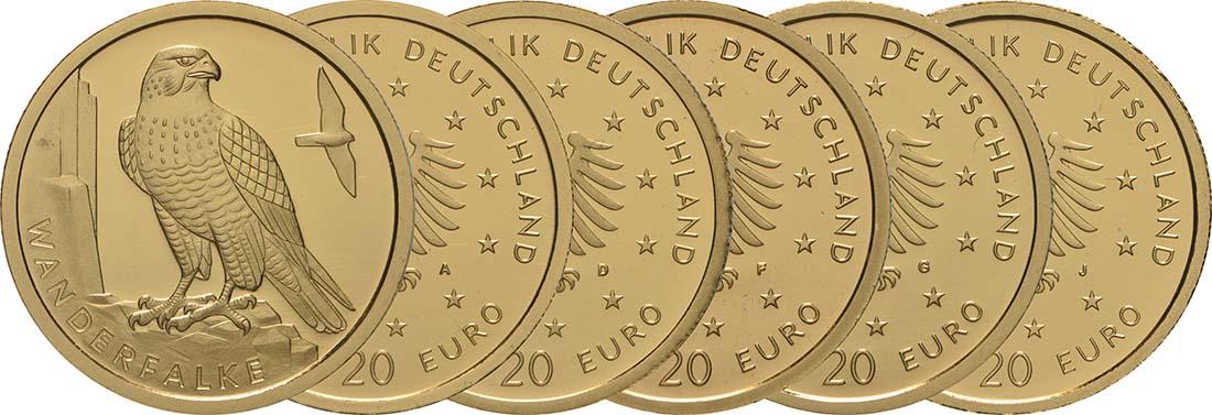 Lieferumfang:Deutschland : 20 Euro Wanderfalke - Komplettsatz 5 Münzen A-J  2019 Stgl.