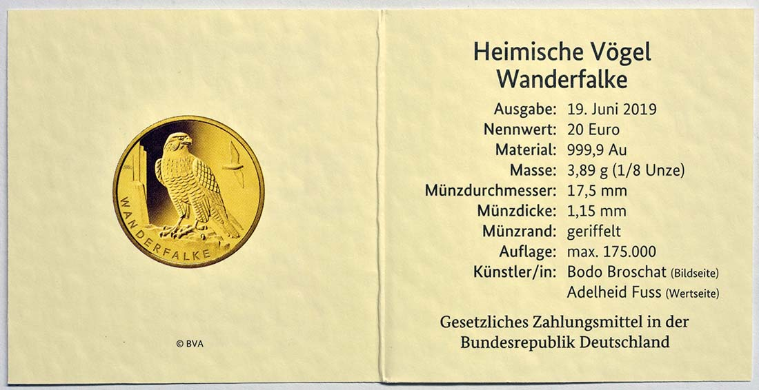 Zertifikat:Deutschland : 20 Euro Wanderfalke - Komplettsatz 5 Münzen A-J  2019 Stgl.