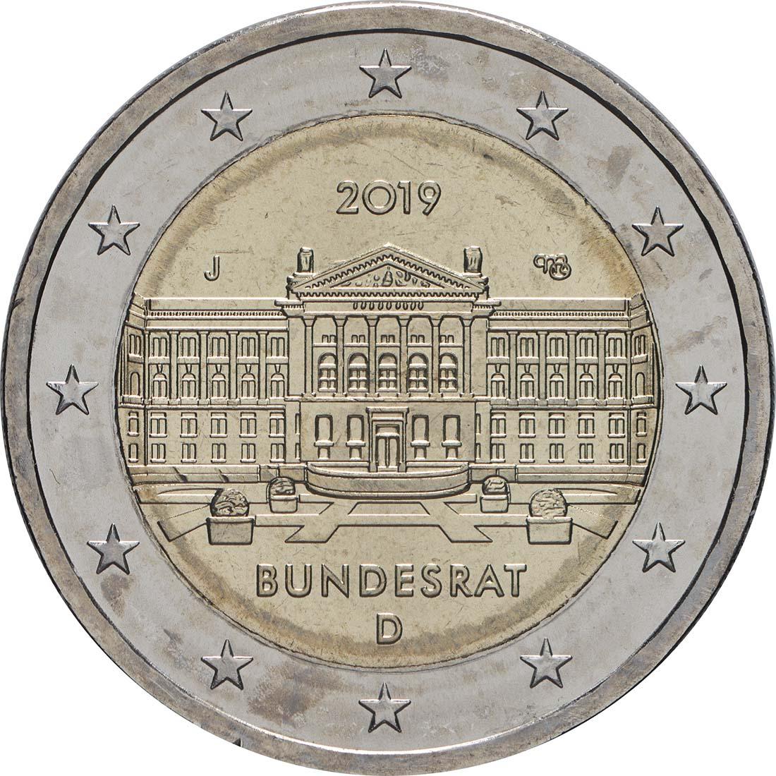 Rückseite:Deutschland : 2 Euro Bundesrat - Buchstabe unserer Wahl  2019 bfr