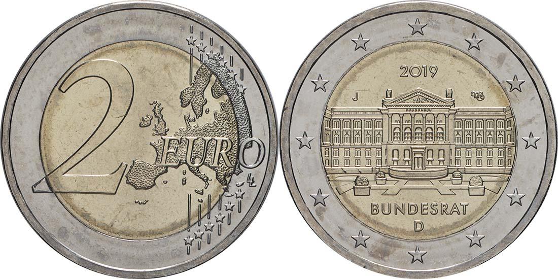Lieferumfang:Deutschland : 2 Euro Bundesrat - Buchstabe unserer Wahl  2019 bfr