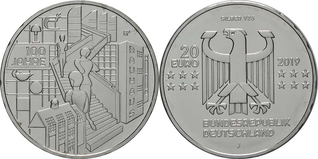 Lieferumfang:Deutschland : 20 Euro 100 Jahre Bauhaus  2019 bfr