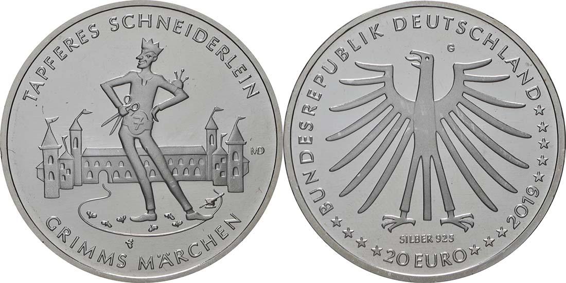 Lieferumfang:Deutschland : 20 Euro Das tapfere Schneiderlein  2019 bfr