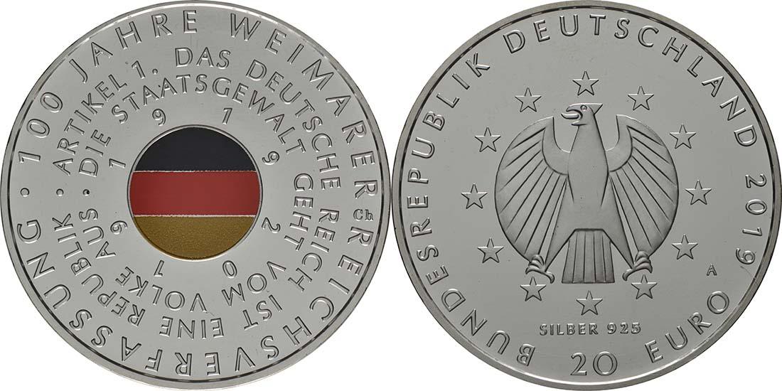 Lieferumfang:Deutschland : 20 Euro 100 Jahre Weimarer Reichsverfassung  2019 bfr