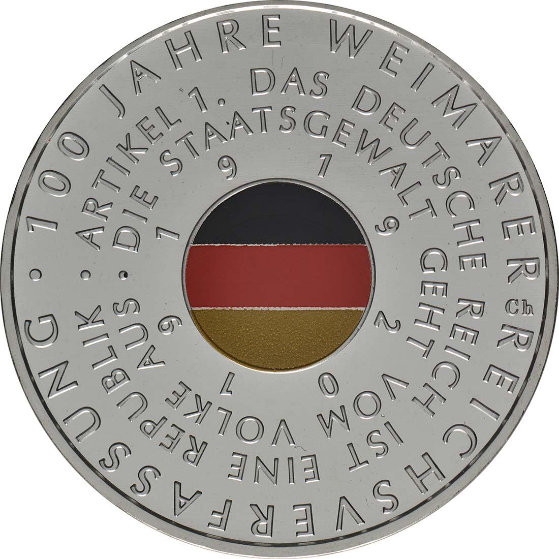 Vorderseite:Deutschland : 20 Euro 100 Jahre Weimarer Reichsverfassung  2019 bfr