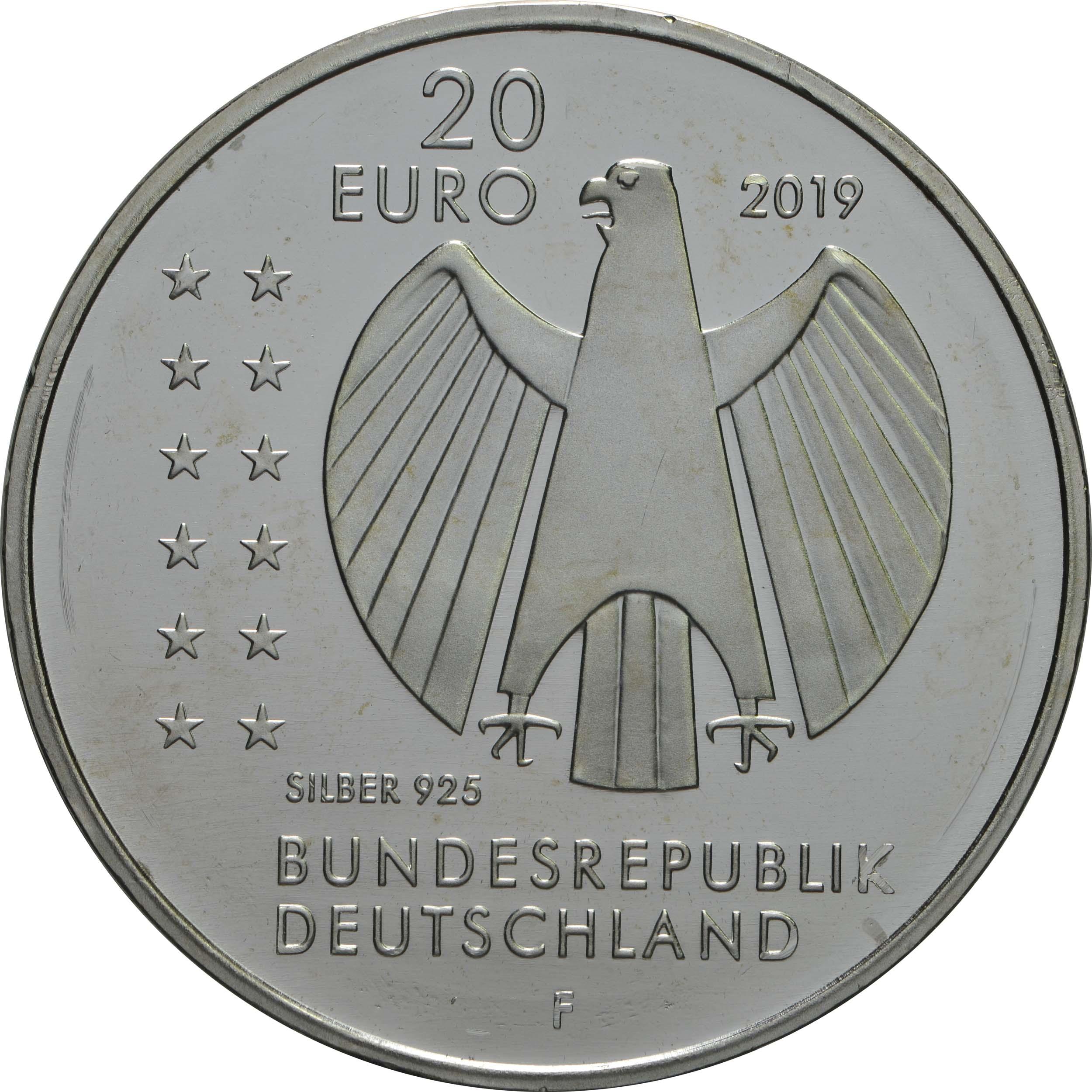 Rückseite:Deutschland : 20 Euro 250. Geburtstag Alexander von Humboldt  2019 bfr