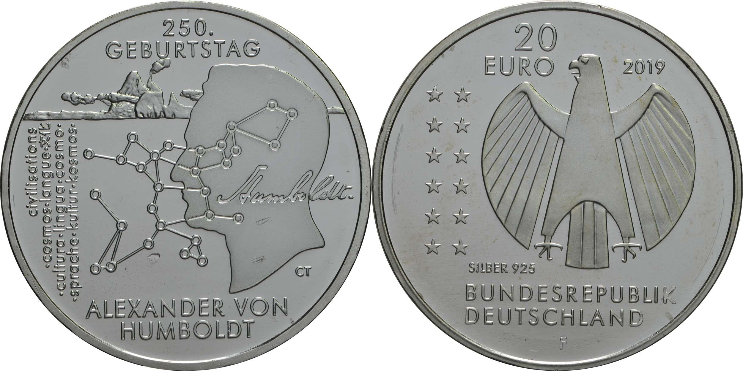 Lieferumfang:Deutschland : 20 Euro 250. Geburtstag Alexander von Humboldt  2019 bfr