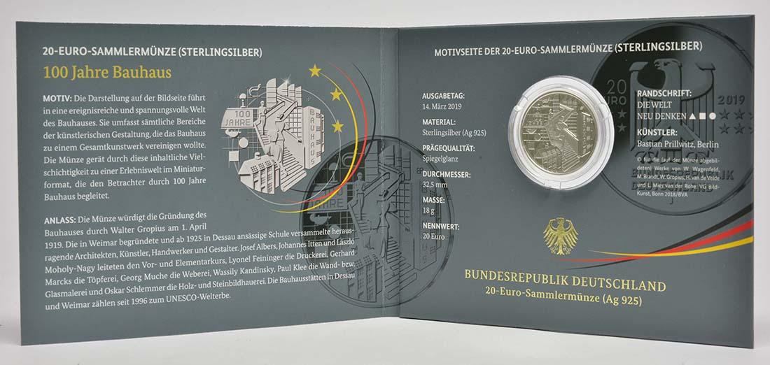 Lieferumfang:Deutschland : 20 Euro 100 Jahre Bauhaus  2019 PP