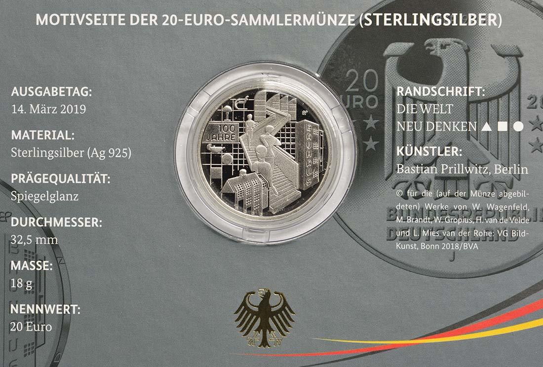 Zertifikat:Deutschland : 20 Euro 100 Jahre Bauhaus  2019 PP