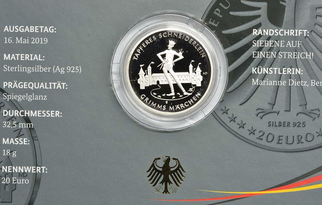 Zertifikat:Deutschland : 20 Euro Das tapfere Schneiderlein  2019 PP