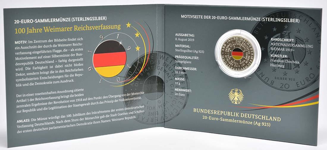 Lieferumfang:Deutschland : 20 Euro 100 Jahre Weimarer Reichsverfassung  2019 PP