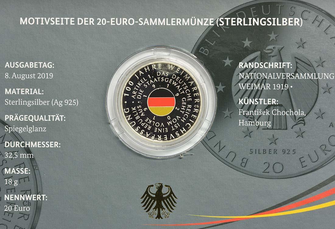 Zertifikat:Deutschland : 20 Euro 100 Jahre Weimarer Reichsverfassung  2019 PP