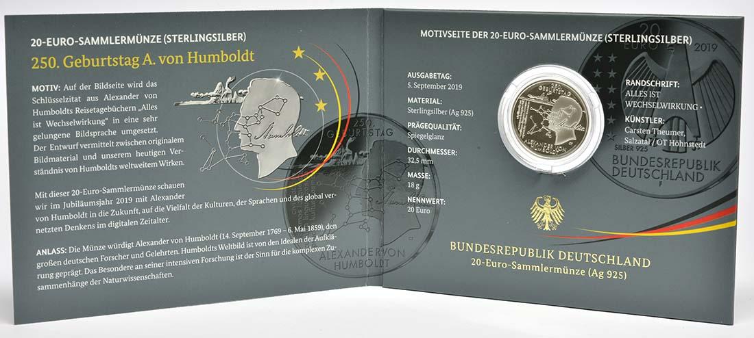 Lieferumfang:Deutschland : 20 Euro 250. Geburtstag Alexander von Humboldt  2019 PP