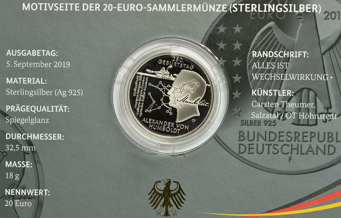 Zertifikat:Deutschland : 20 Euro 250. Geburtstag Alexander von Humboldt  2019 PP