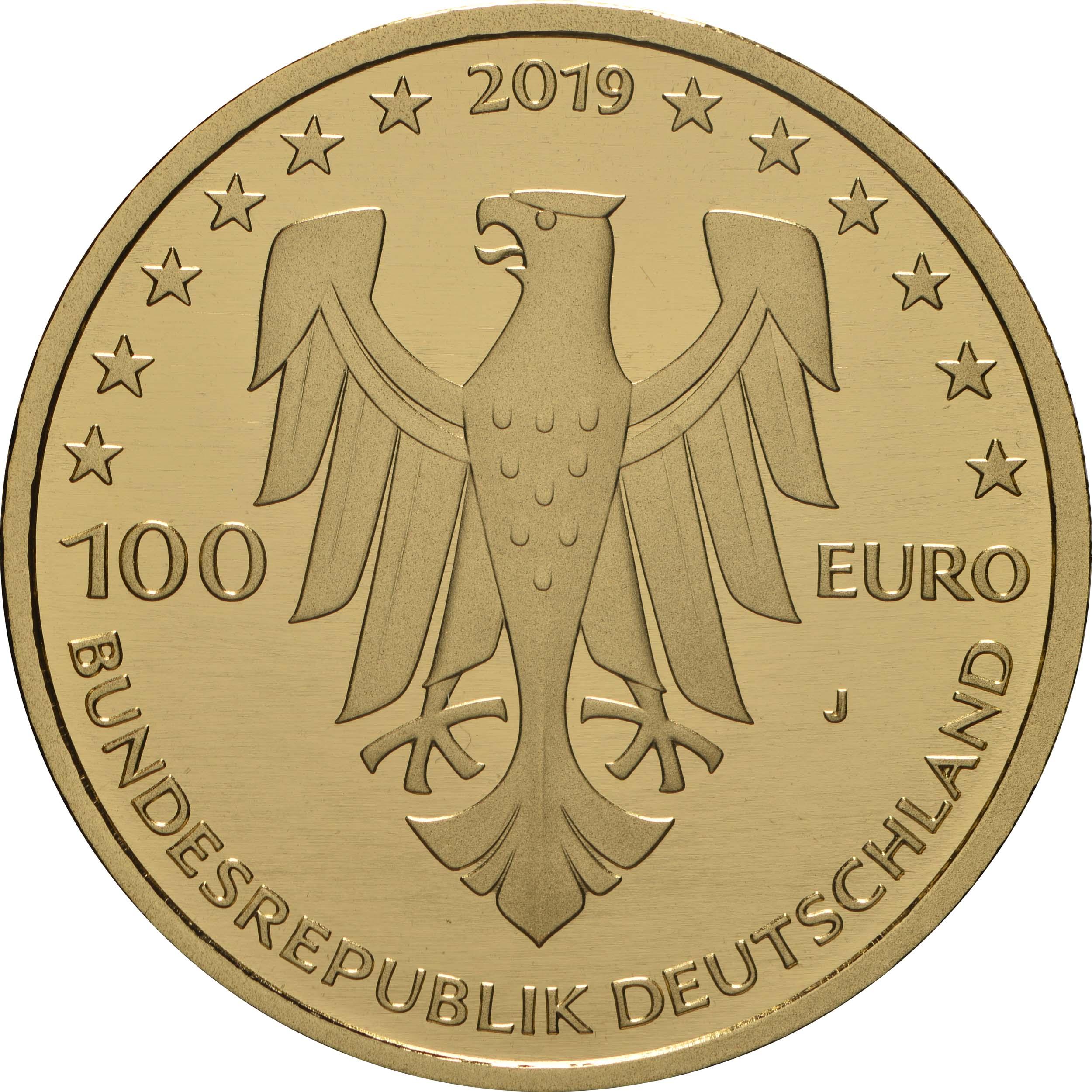 Rückseite:Deutschland : 100 Euro Dom zu Speyer - Buchstabe unserer Wahl  2019 Stgl.