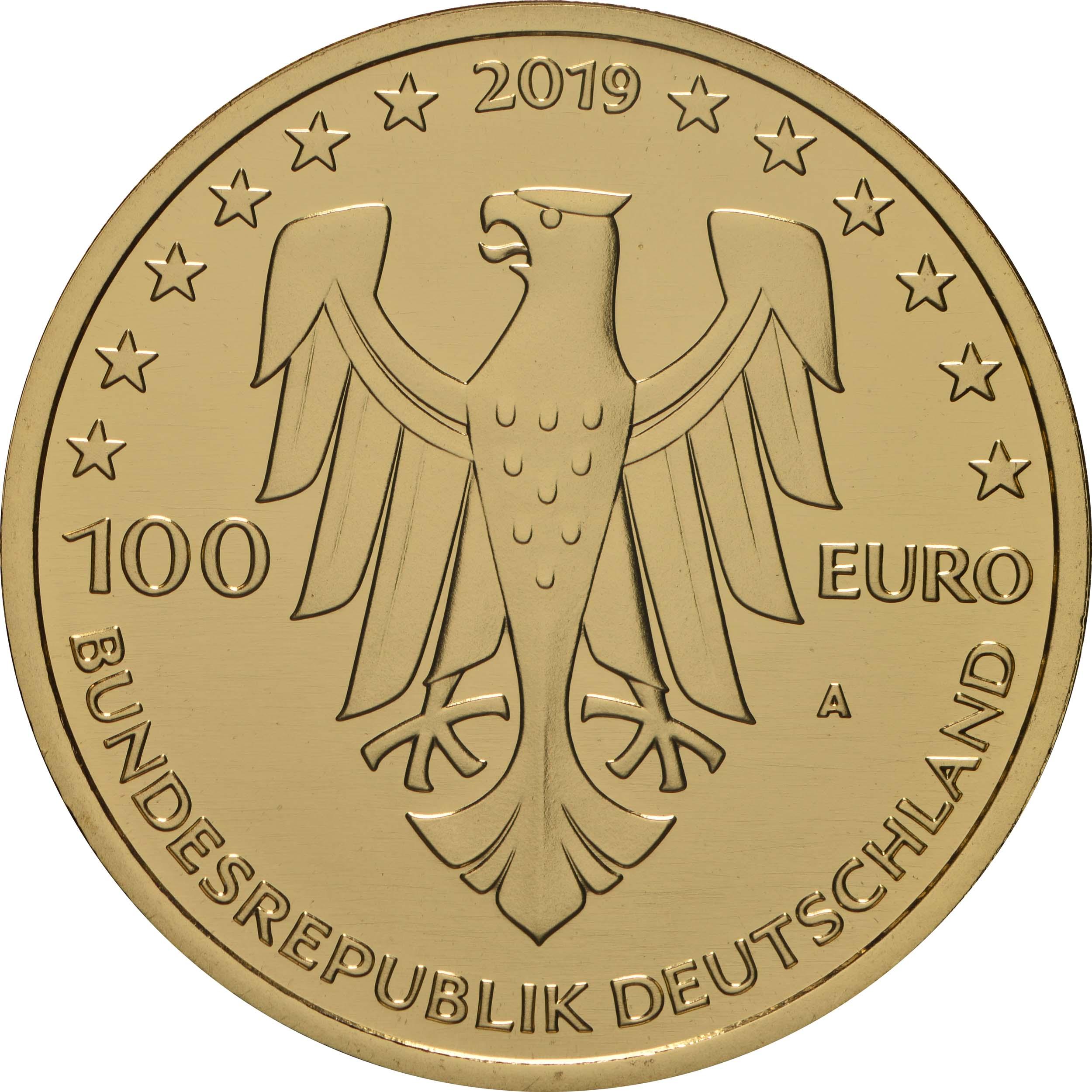 Rückseite:Deutschland : 100 Euro Dom zu Speyer - Komplettsatz 5 Münzen A-J  2019 Stgl.