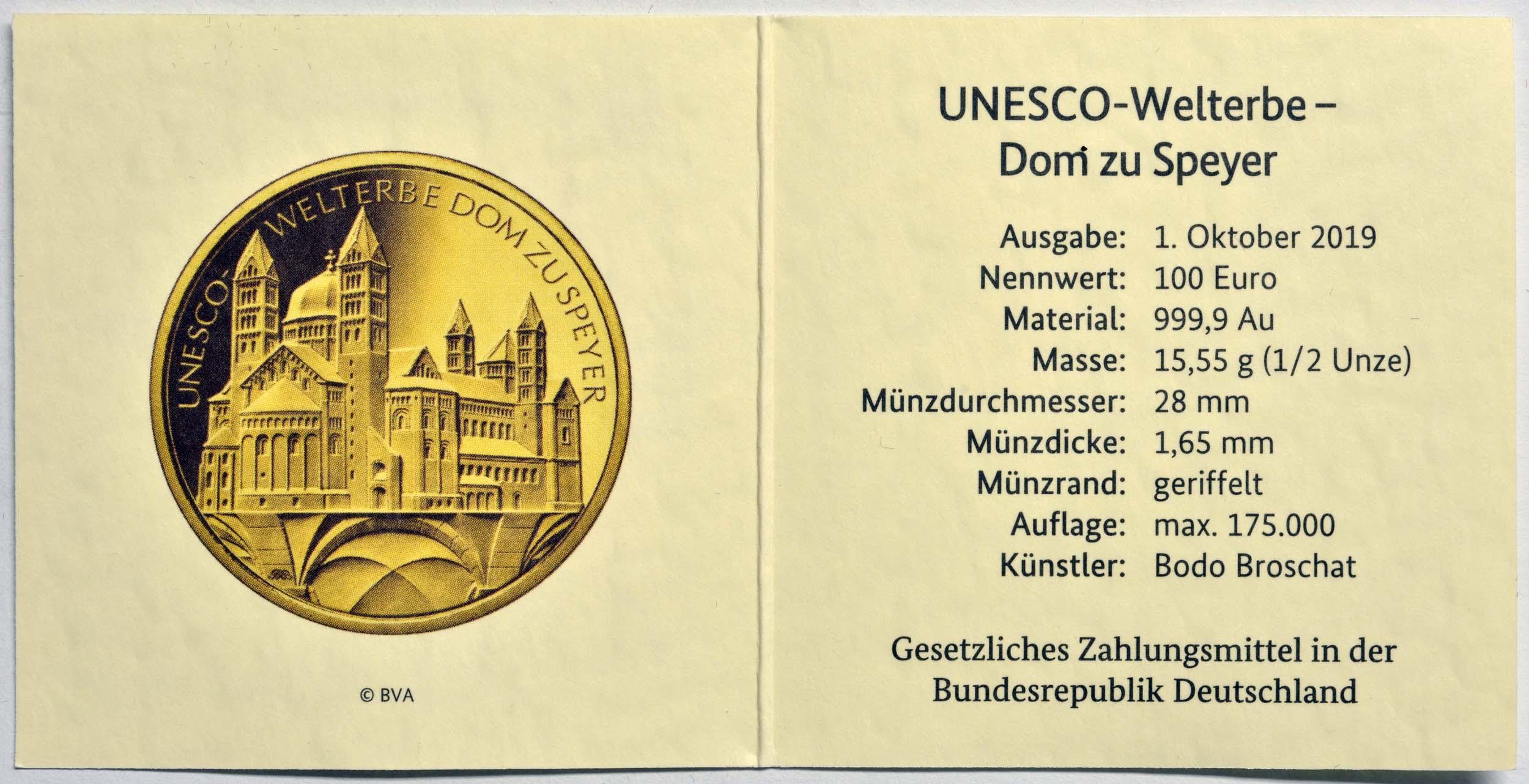 Zertifikat:Deutschland : 100 Euro Dom zu Speyer - Komplettsatz 5 Münzen A-J  2019 Stgl.