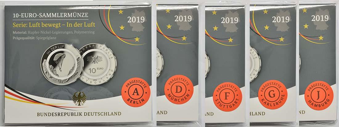 Lieferumfang:Deutschland : 10 Euro In der Luft - Komplettsatz 5 Münzen A-J  2019 PP