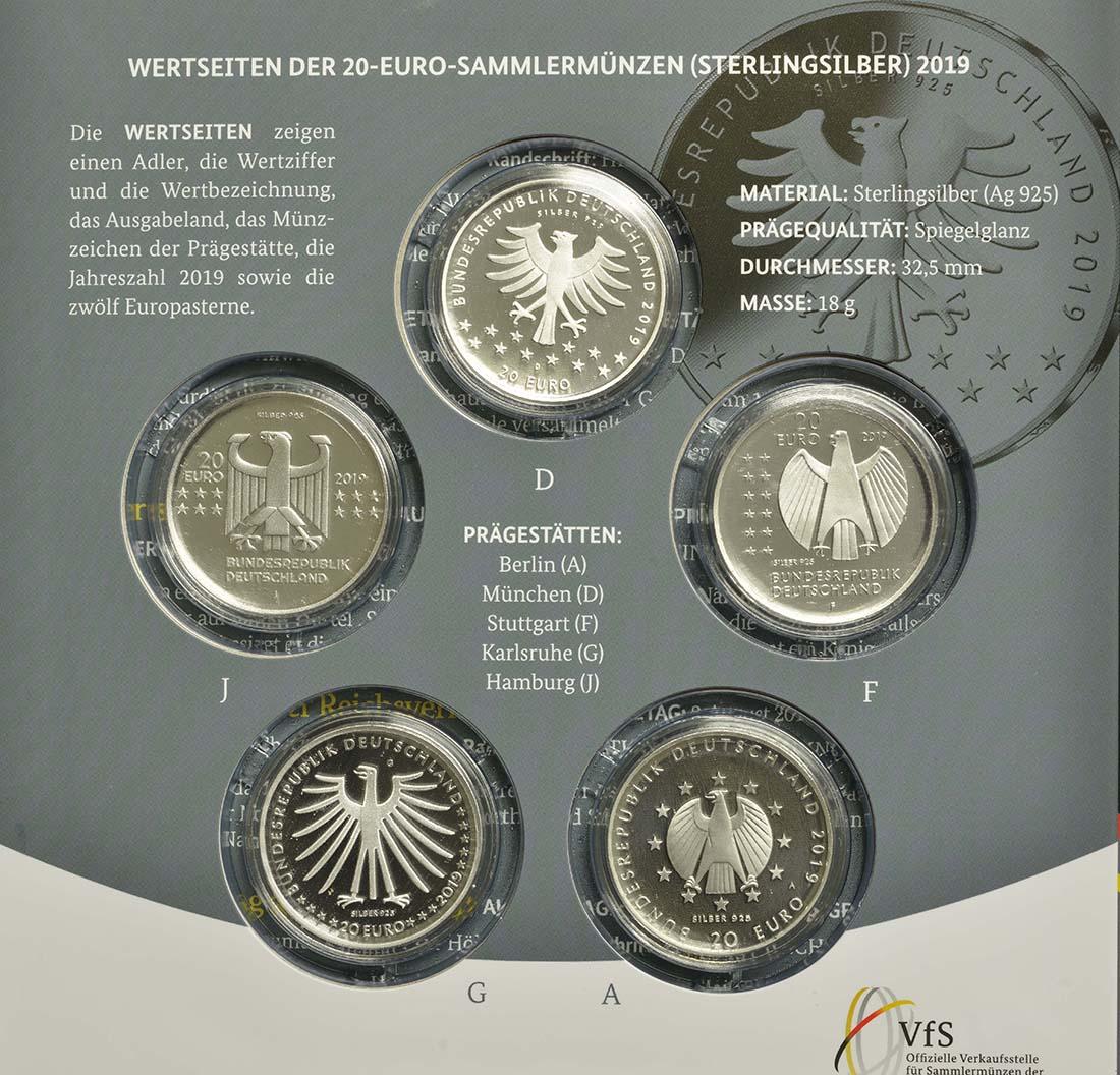 Zertifikat:Deutschland : 100 Euro 5x20 Euro Ausgaben aus Deutschland des Jahres 2019 (Verfassung, Frauenwahlrecht, Humboldt, Schneiderlein, Bauhaus)   2019 PP