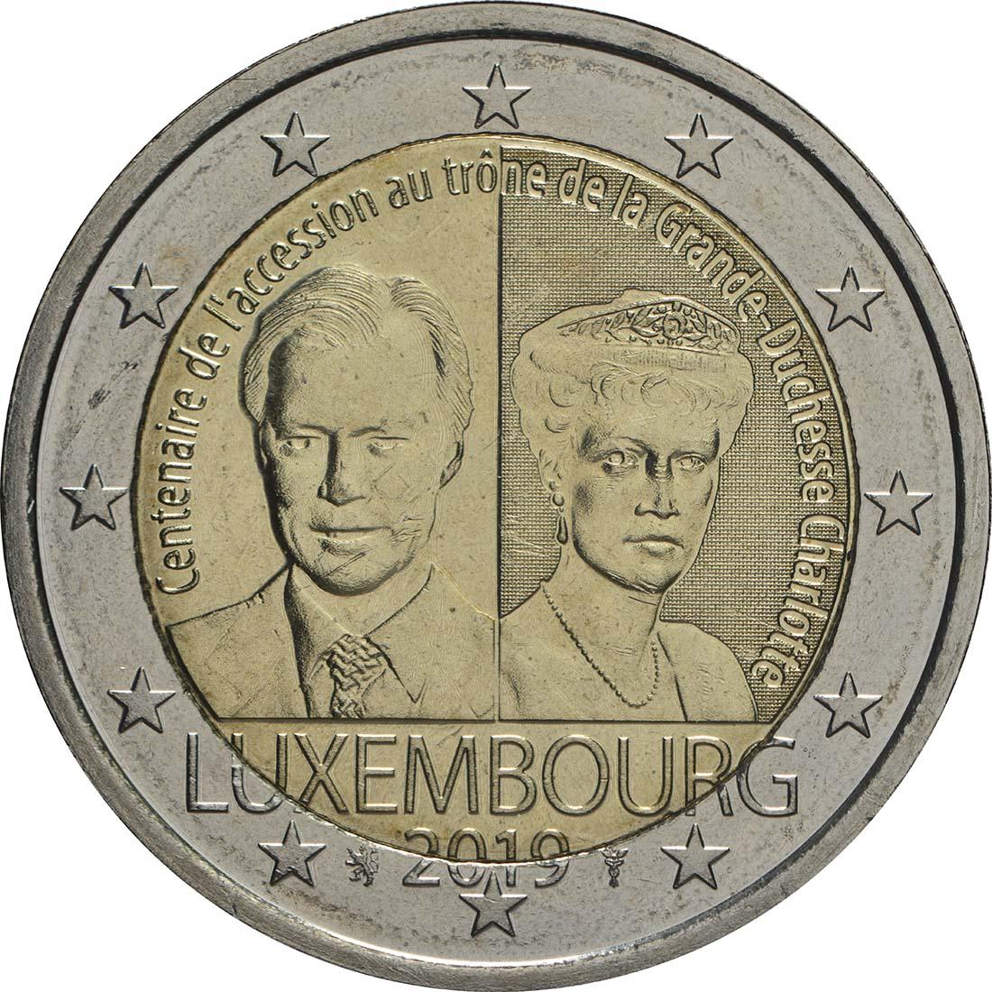 Rückseite:Luxemburg : 2 Euro 100. Jahrestag von Großherzogin Charlottes Thronbesteigung und Hochzeit  2019 bfr