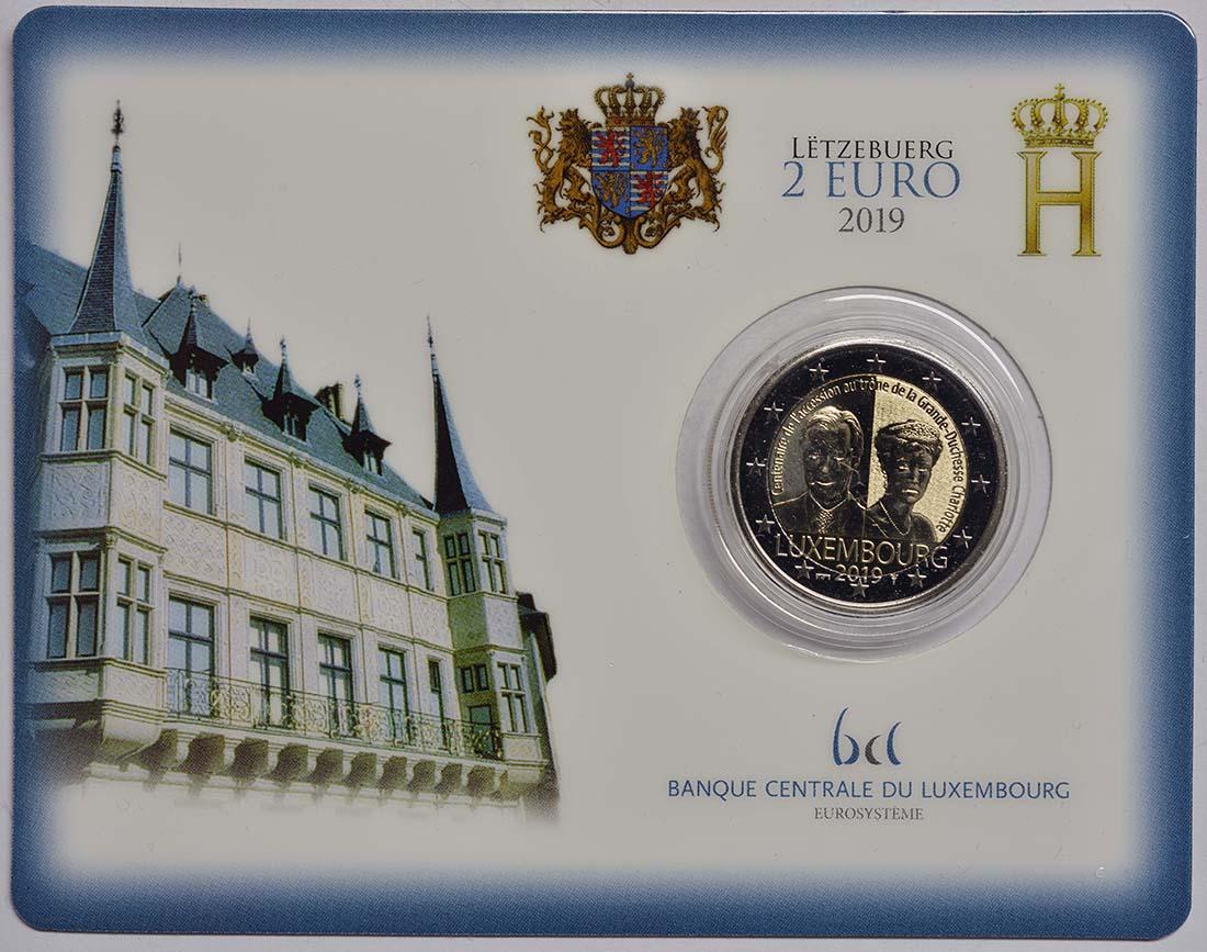 Lieferumfang:Luxemburg : 2 Euro 100. Jahrestag von Großherzogin Charlottes Thronbesteigung und Hochzeit - Münzzeichen Brücke  2019 bfr