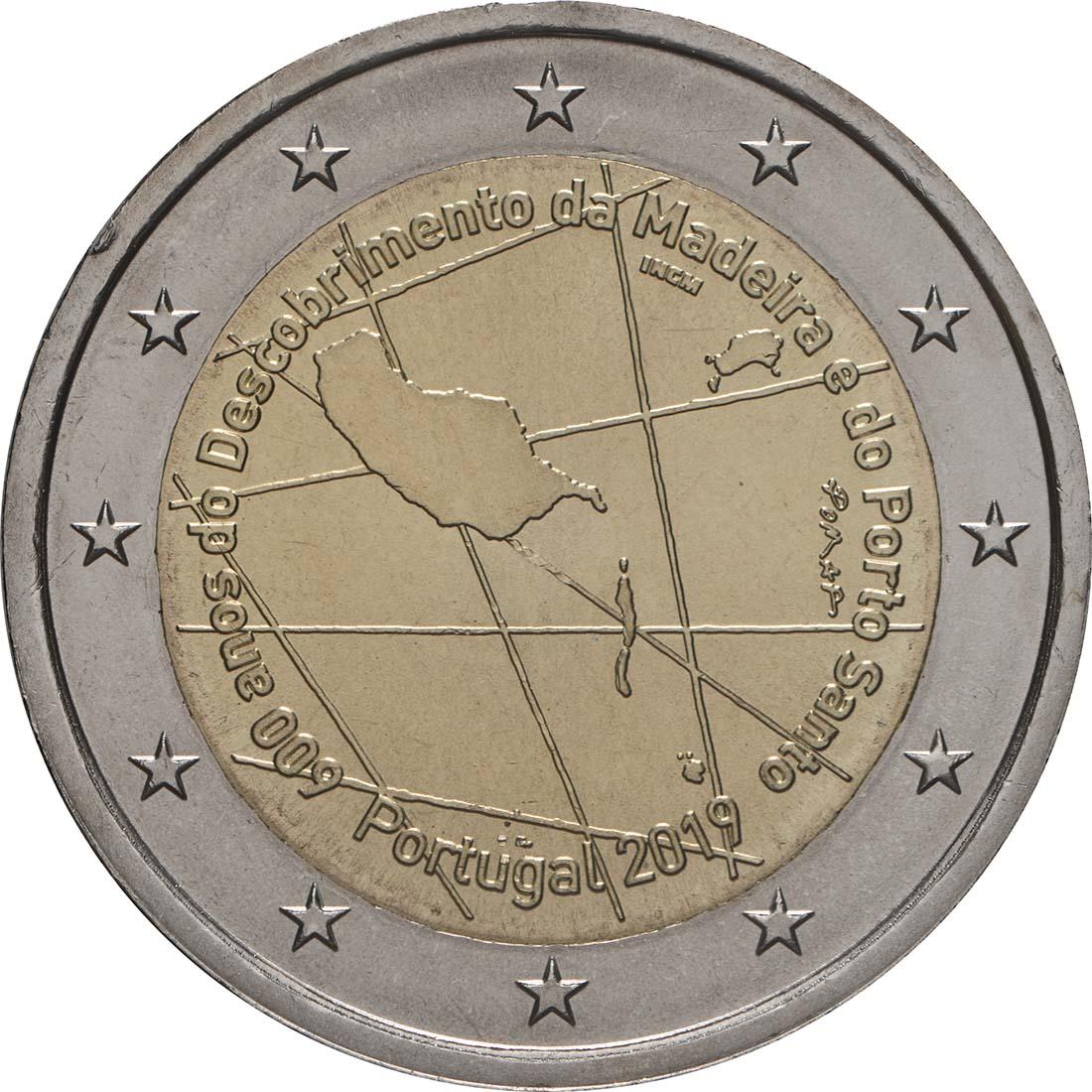 Rückseite:Portugal : 2 Euro 600. Jahrestag der Entdeckung der Insel Madeira  2019 bfr