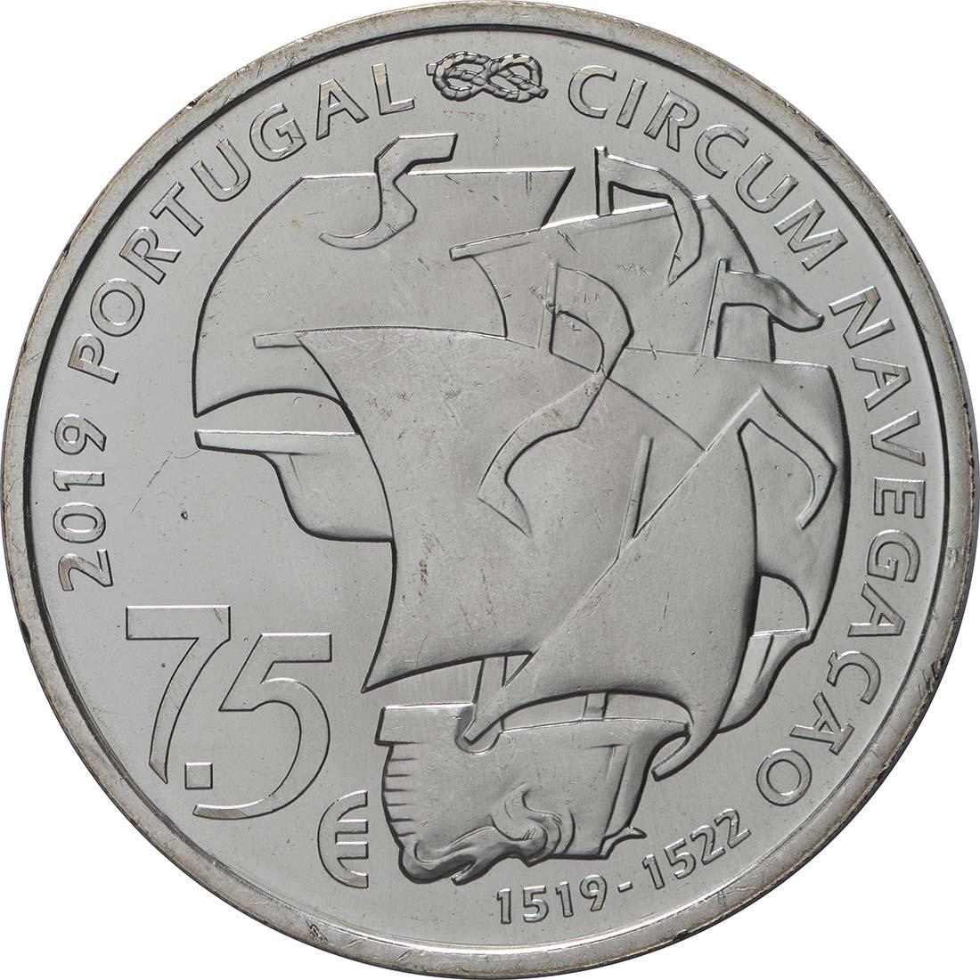 Rückseite:Portugal : 7,5 Euro 500. Jahrestag der Weltumseglung durch Magellan  2019 bfr