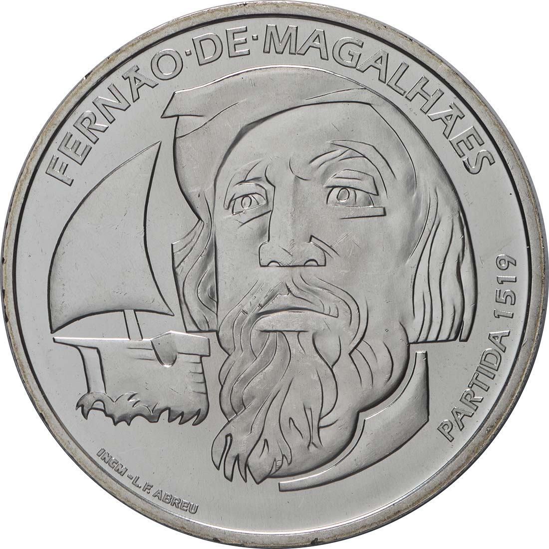 Vorderseite:Portugal : 7,5 Euro 500. Jahrestag der Weltumseglung durch Magellan  2019 bfr
