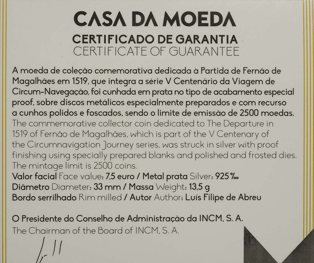 Zertifikat:Portugal : 7,5 Euro 500. Jahrestag der Weltumseglung durch Magellan  2019 PP