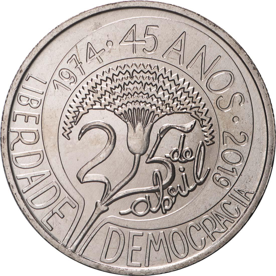 Vorderseite:Portugal : 5 Euro 45 Jahre Nelkenrevolution  2019 bfr