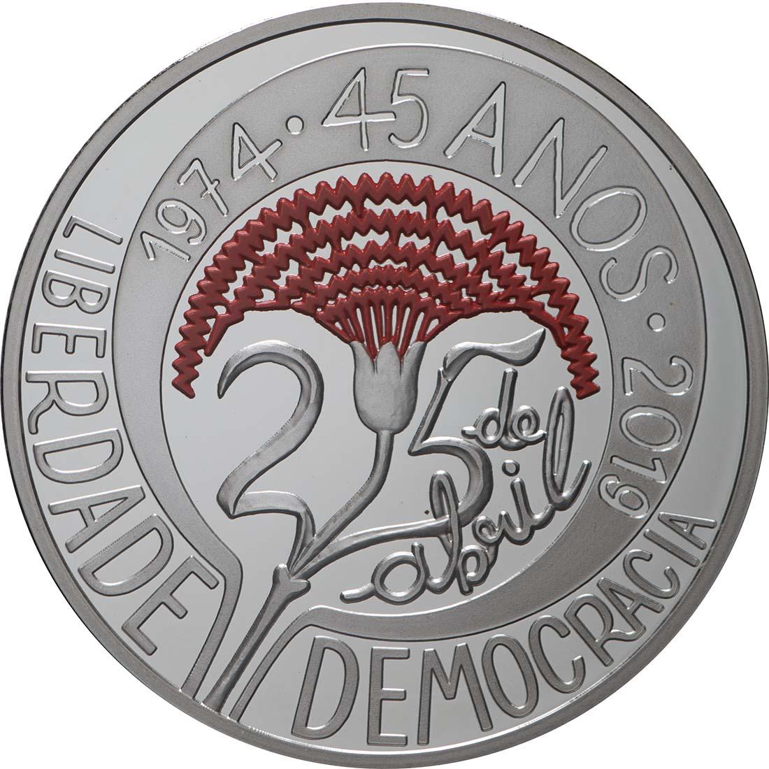 Vorderseite:Portugal : 5 Euro 45 Jahre Nelkenrevolution  2019 PP